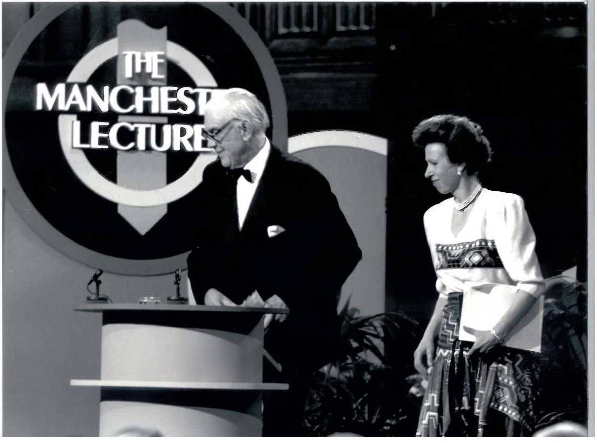 HRH Princess Anne giving the Manchester Lecture 1990